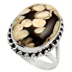 Natural peanut petrified wood fossil 925 silver solitaire ring size 8 r28681