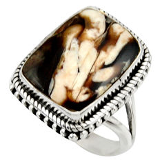 Natural peanut petrified wood fossil 925 silver solitaire ring size 8 r28685