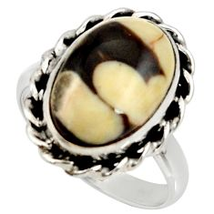 Natural peanut petrified wood fossil 925 silver solitaire ring size 9 r28163