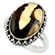 Natural peanut petrified wood fossil 925 silver solitaire ring size 9 r28693