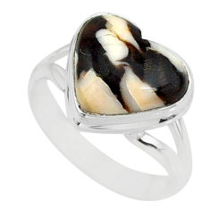 7.15cts natural peanut petrified wood fossil silver solitaire ring size 8 r84724