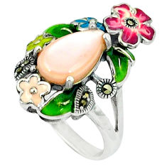 4.56cts natural pink pearl marcasite enamel 925 silver ring size 6.5 c18669