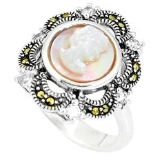 5.53cts natural white pearl marcasite lady face 925 silver ring size 7 c16374