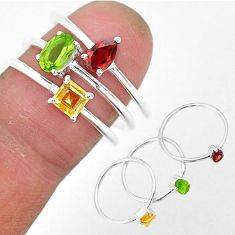 2.76cts natural peridot citrine 925 sterling silver 3 rings size 8 r93150