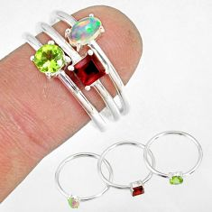2.98cts natural peridot ethiopian opal 925 silver stackable ring size 8 r79897