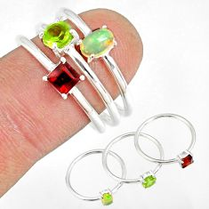 2.98cts natural peridot ethiopian opal 925 silver stackable ring size 8 r79899