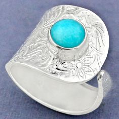 2.68cts natural peruvian amazonite 925 silver adjustable ring size 9.5 r63382