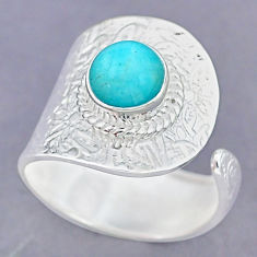 3.34cts natural peruvian amazonite 925 silver adjustable ring size 9 r90559