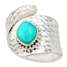Natural peruvian amazonite 925 silver adjustable solitaire ring size 8.5 d46429