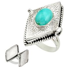 4.27cts natural peruvian amazonite 925 silver poison box ring size 9.5 r26694