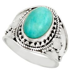 4.38cts natural peruvian amazonite 925 silver solitaire ring size 7.5 d36138