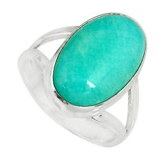 9.03cts natural peruvian amazonite 925 silver solitaire ring size 7.5 r19307