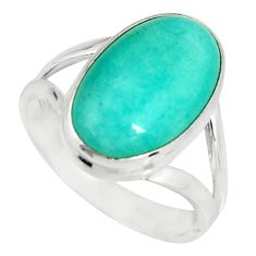 8.25cts natural peruvian amazonite 925 silver solitaire ring size 8.5 r19316