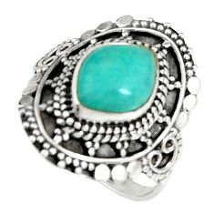 4.74cts natural peruvian amazonite 925 silver solitaire ring size 7.5 r19521