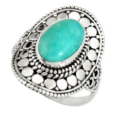 4.38cts natural peruvian amazonite 925 silver solitaire ring size 8.5 r19523