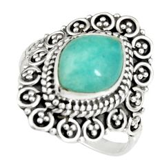 4.51cts natural peruvian amazonite 925 silver solitaire ring size 7.5 r19526