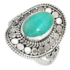 4.50cts natural peruvian amazonite 925 silver solitaire ring size 8.5 r19530