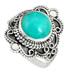 5.52cts natural peruvian amazonite 925 silver solitaire ring size 8.5 r19534