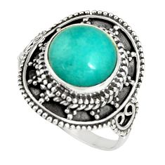 5.38cts natural peruvian amazonite 925 silver solitaire ring size 8.5 r19536