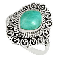 4.70cts natural peruvian amazonite 925 silver solitaire ring size 8.5 r19538