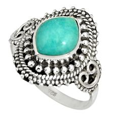 4.51cts natural peruvian amazonite 925 silver solitaire ring size 8.5 r19540