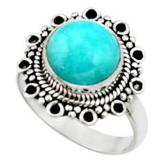 5.14cts natural peruvian amazonite 925 silver solitaire ring size 7.5 r52614