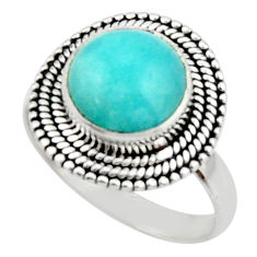 5.03cts natural peruvian amazonite 925 silver solitaire ring size 8.5 r52617