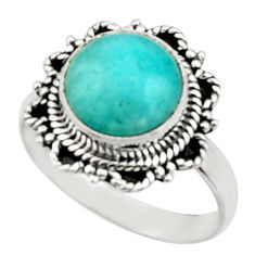 4.90cts natural peruvian amazonite 925 silver solitaire ring size 8.5 r52619