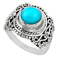 2.55cts natural peruvian amazonite 925 silver solitaire ring size 6.5 r53481
