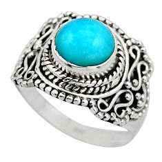 2.41cts natural peruvian amazonite 925 silver solitaire ring size 6.5 r53483