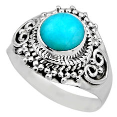 2.72cts natural peruvian amazonite 925 silver solitaire ring size 7.5 r53485