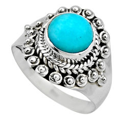 2.72cts natural peruvian amazonite 925 silver solitaire ring size 6.5 r53486