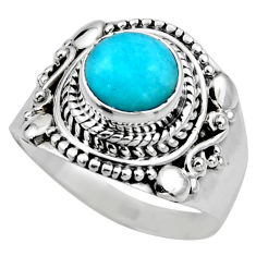 2.54cts natural peruvian amazonite 925 silver solitaire ring size 7.5 r53487