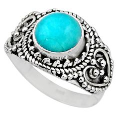 2.72cts natural peruvian amazonite 925 silver solitaire ring size 6.5 r53491