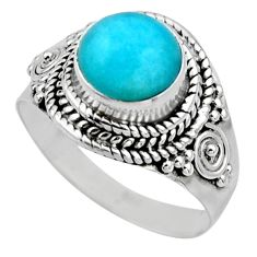 2.58cts natural peruvian amazonite 925 silver solitaire ring size 6.5 r53493