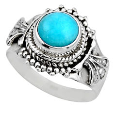 2.68cts natural peruvian amazonite 925 silver solitaire ring size 7.5 r53495