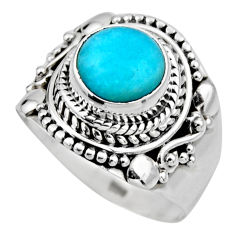 2.56cts natural peruvian amazonite 925 silver solitaire ring size 6.5 r53497