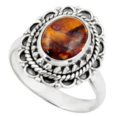 4.74cts natural pietersite (african) 925 silver solitaire ring size 7.5 d46591