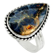 11.63cts natural pietersite (african) 925 silver solitaire ring size 9.5 r25011