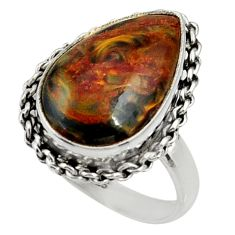 12.03cts natural pietersite (african) 925 silver solitaire ring size 8.5 r28188
