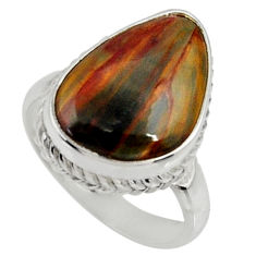 10.13cts natural pietersite (african) 925 silver solitaire ring size 7.5 r28189