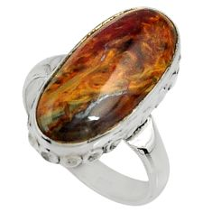 8.01cts natural pietersite (african) 925 silver solitaire ring size 6.5 r28209