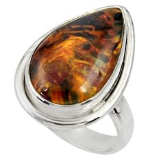 12.07cts natural pietersite (african) 925 silver solitaire ring size 7.5 r28211