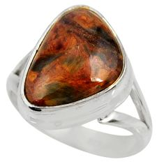 12.34cts natural pietersite (african) 925 silver solitaire ring size 8.5 r28214