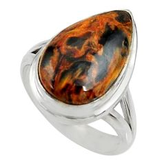 9.42cts natural pietersite (african) 925 silver solitaire ring size 7.5 r28217