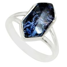 5.57cts natural pietersite (african) 925 silver solitaire ring size 8.5 r80193