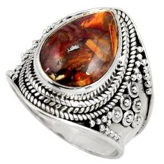 6.31cts natural pietersite (african) 925 silver solitaire ring size 7 d39030
