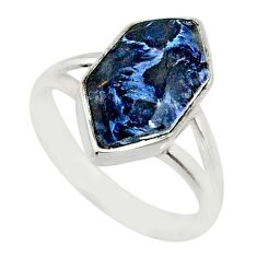 5.23cts natural pietersite (african) 925 silver solitaire ring size 7 r80182