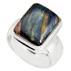 6.98cts natural pietersite (african) 925 silver solitaire ring size 8 r19012