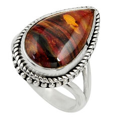10.89cts natural pietersite (african) 925 silver solitaire ring size 8 r28183